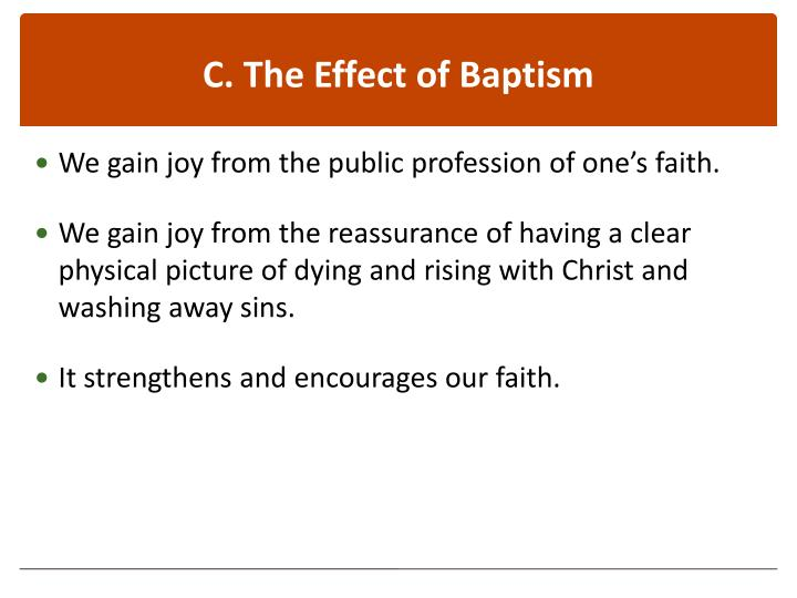 C. The Effect of Baptism