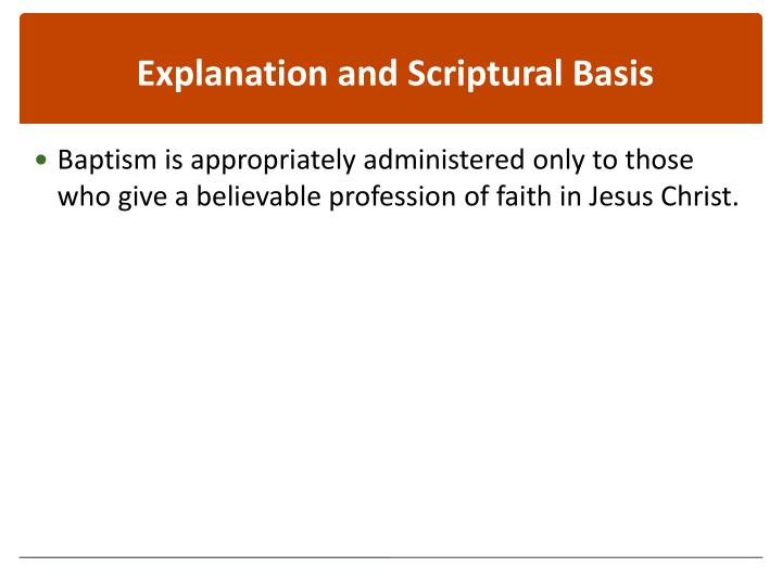 Explanation and Scriptural Basis