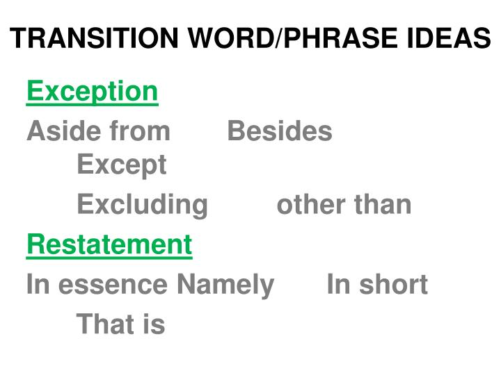 TRANSITION WORD/PHRASE IDEAS