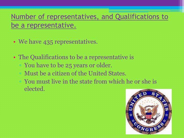 Number of representatives, and Qualifications to be a representative.