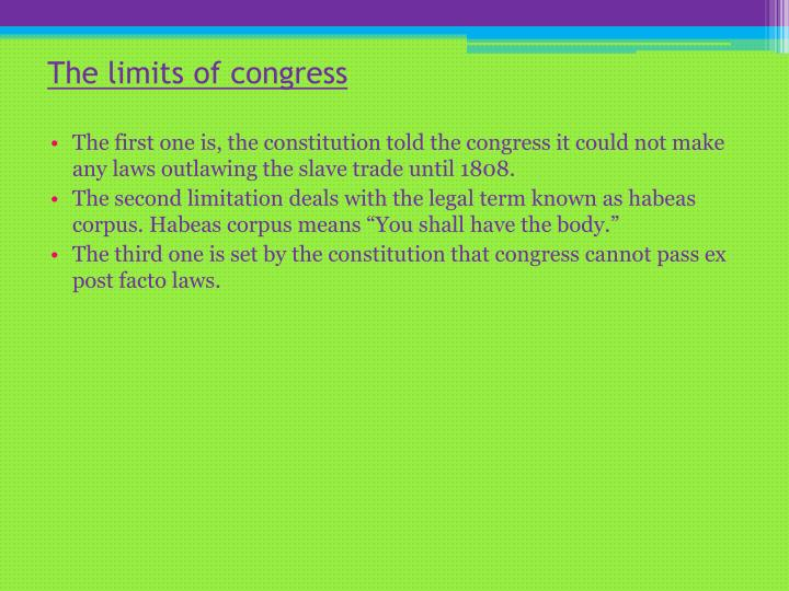 The limits of congress
