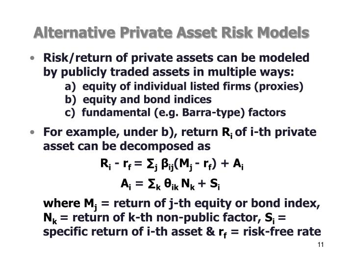 Alternative Private Asset Risk Models