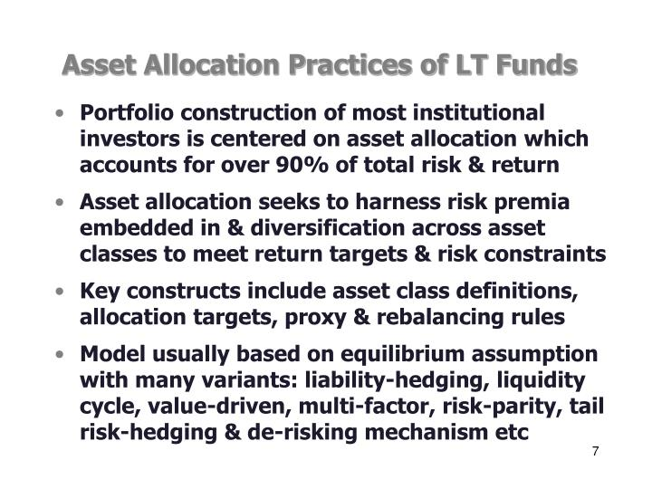 Asset Allocation Practices of LT Funds