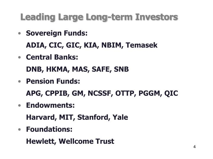 Leading Large Long-term Investors
