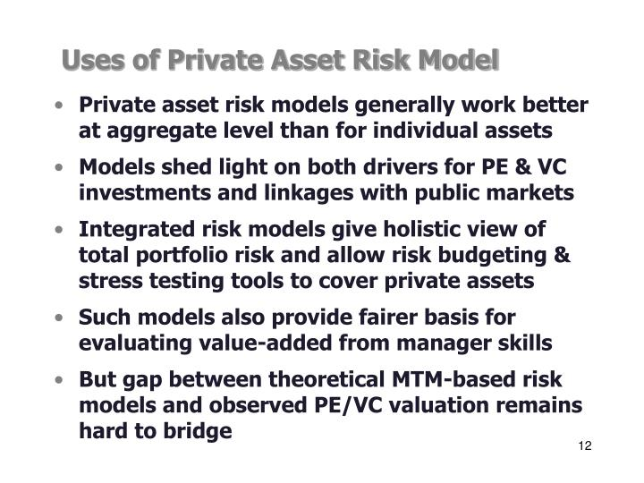 Uses of Private Asset Risk Model