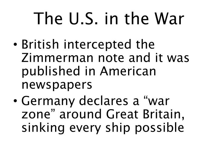 The U.S. in the War