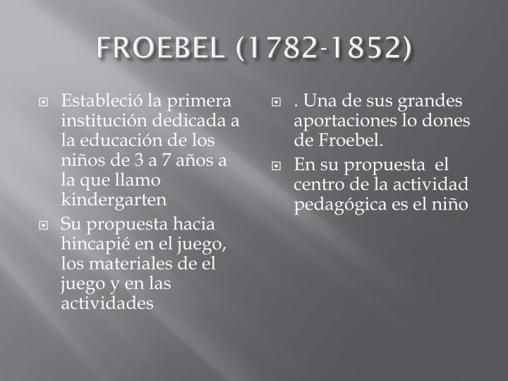 FROEBEL (1782-1852)
