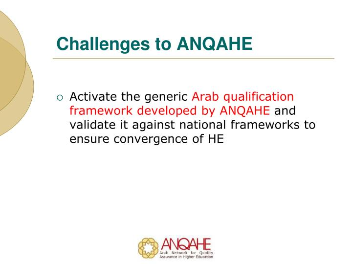 Challenges to ANQAHE
