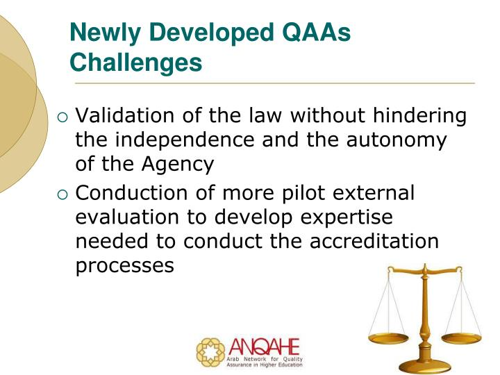 Newly Developed QAAs Challenges
