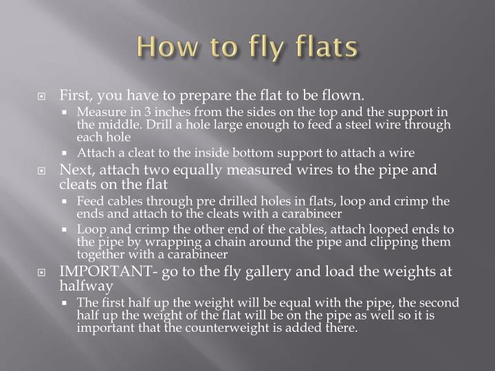 How to fly flats