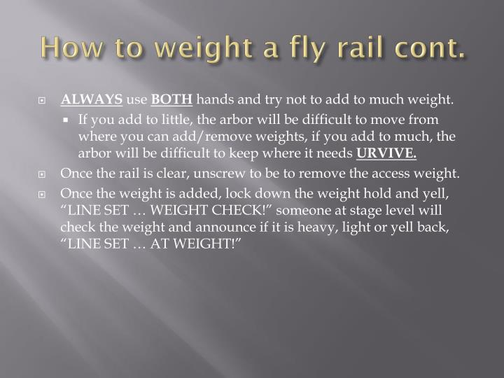 How to weight a fly rail cont.