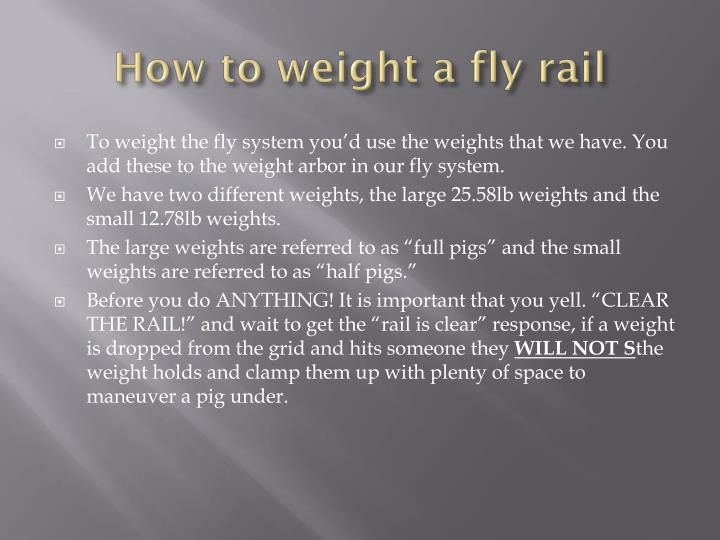 How to weight a fly rail