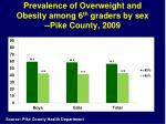 prevalence of overweight and obesity among 6 th graders by sex pike county 2009