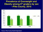prevalence of overweight and obesity among 6 th graders by sex pike county 2010