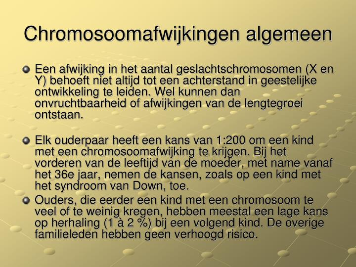 Chromosoomafwijkingen algemeen