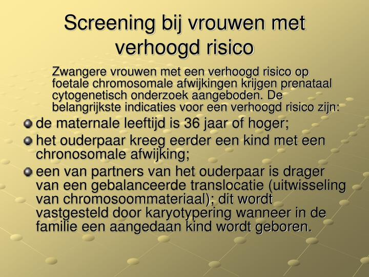 Screening bij vrouwen met verhoogd risico