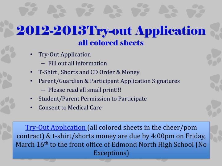 2012-2013Try-out Application