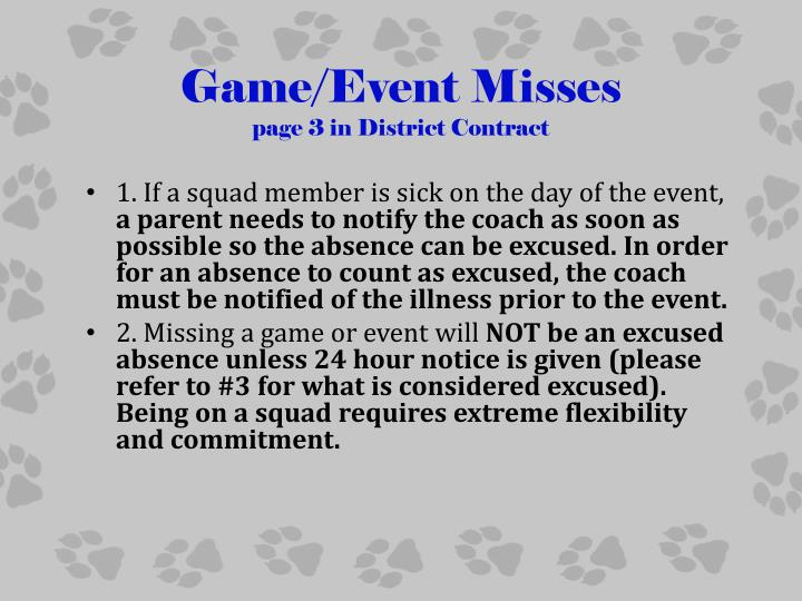 Game/Event Misses