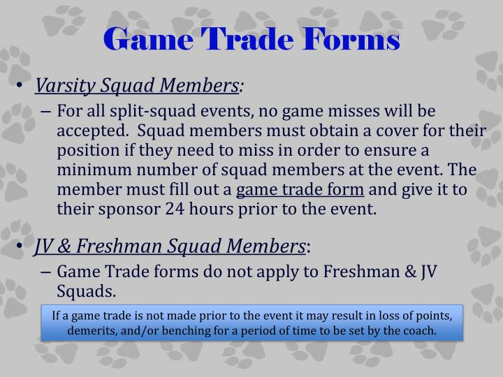Game Trade Forms
