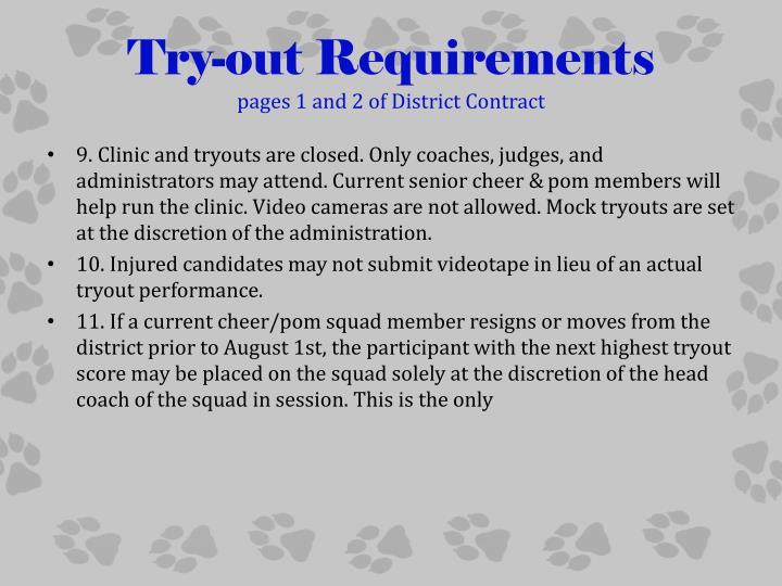 Try-out Requirements