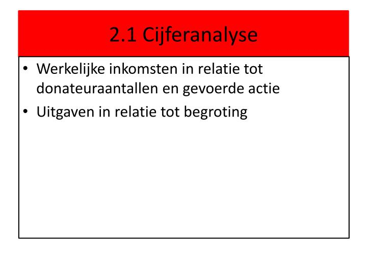 2.1 Cijferanalyse