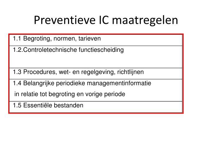 Preventieve IC maatregelen