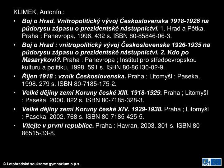 KLIMEK, Antonín.: