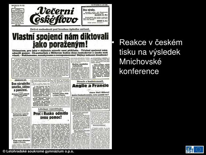 Reakce v českém tisku na výsledek Mnichovské konference