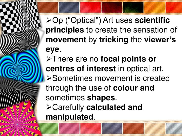 "Op (""Optical"") Art uses"