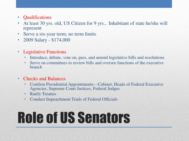 Role of us senators