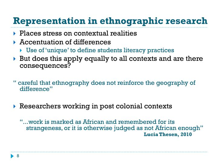 Representation in ethnographic research