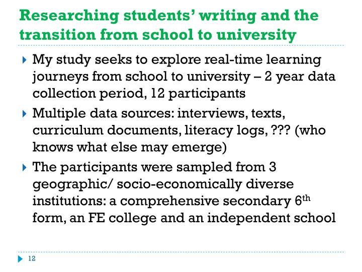 Researching students' writing and the transition from school to university