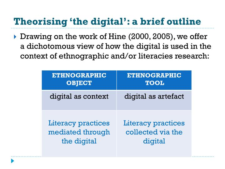 Theorising the digital a brief outline