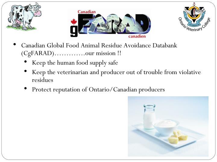 Canadian Global Food Animal Residue Avoidance Databank (