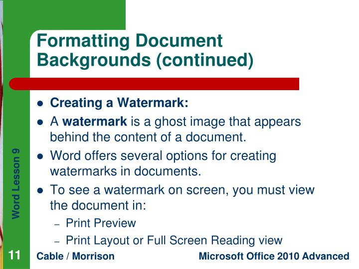 Formatting Document Backgrounds (continued)