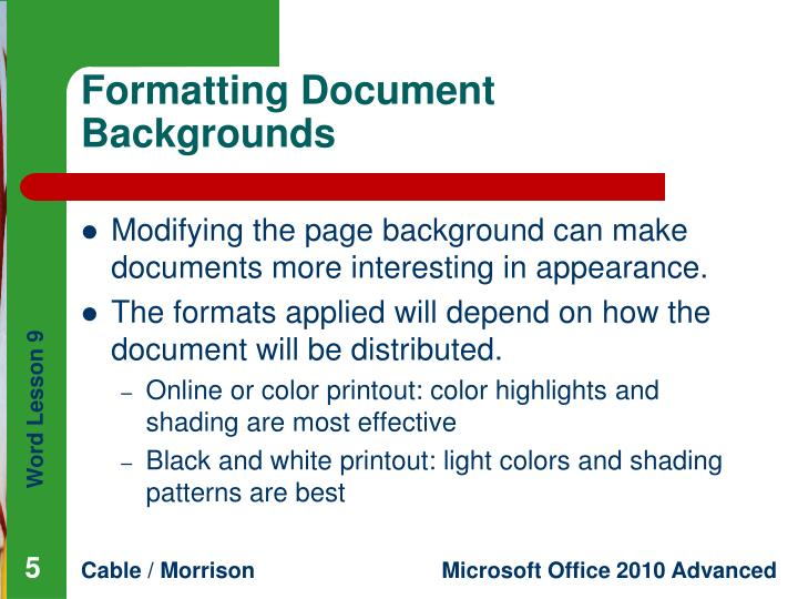 Formatting Document Backgrounds