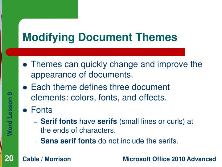 Modifying Document Themes