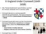 v england under cromwell 1649 1658