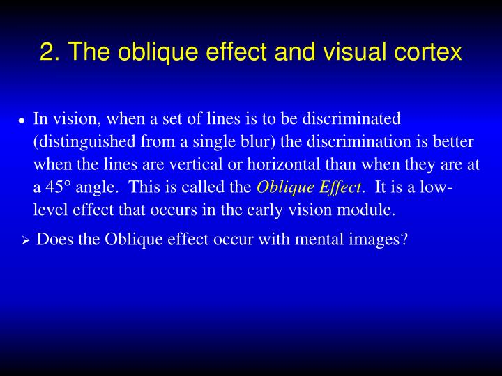 2. The oblique effect and visual cortex