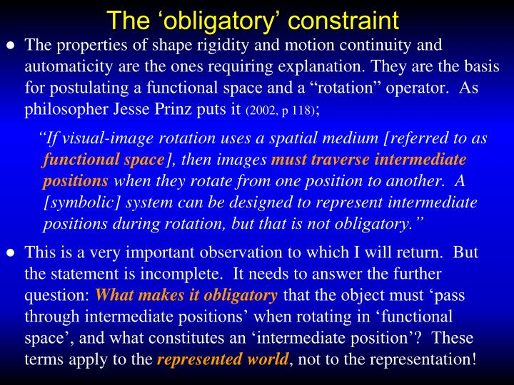 The 'obligatory' constraint