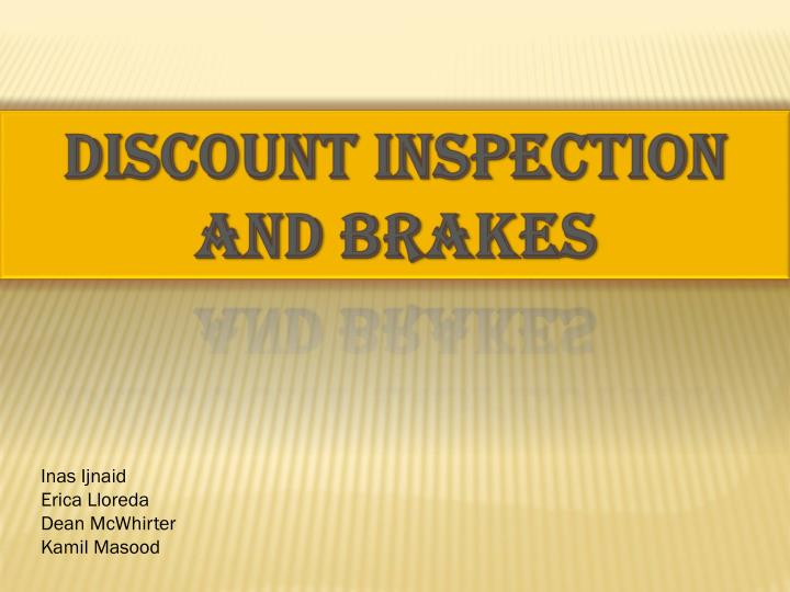 Discount Inspection and Brakes