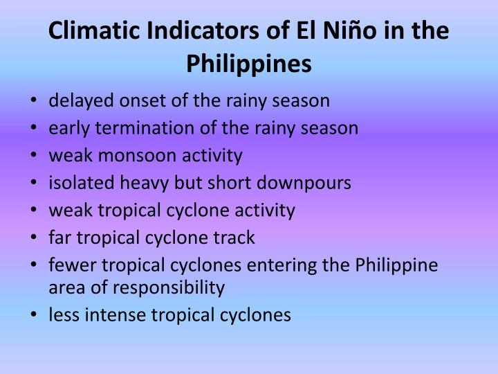 Climatic Indicators of El Niño in the Philippines