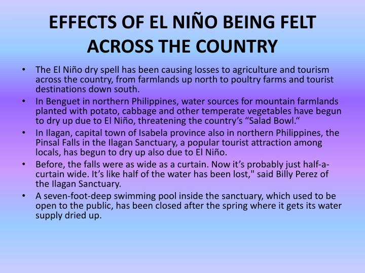 EFFECTS OF EL NIÑO BEING FELT ACROSS THE
