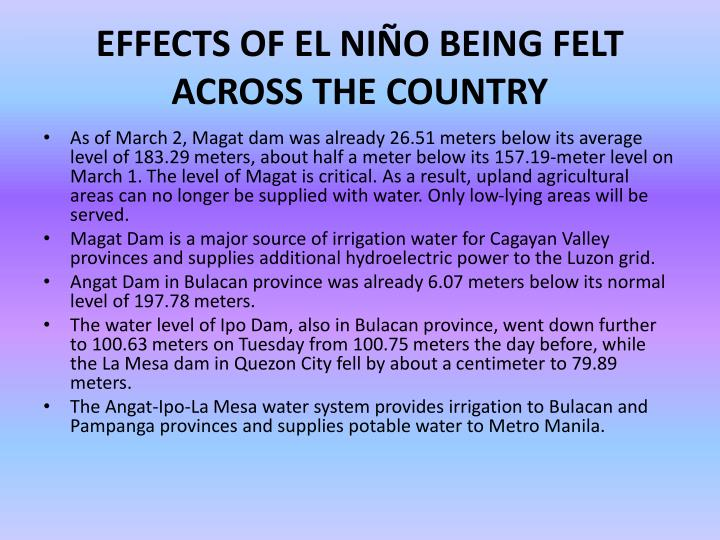 EFFECTS OF EL NIÑO BEING FELT ACROSS THE COUNTRY