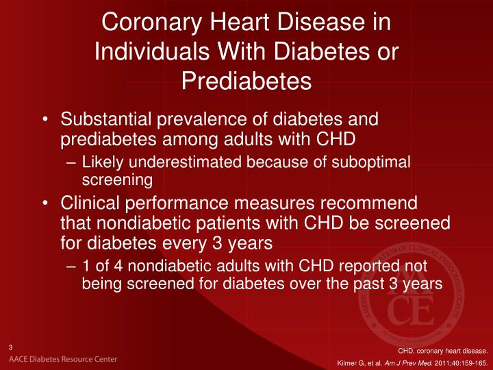 Coronary heart disease in individuals with diabetes or prediabetes