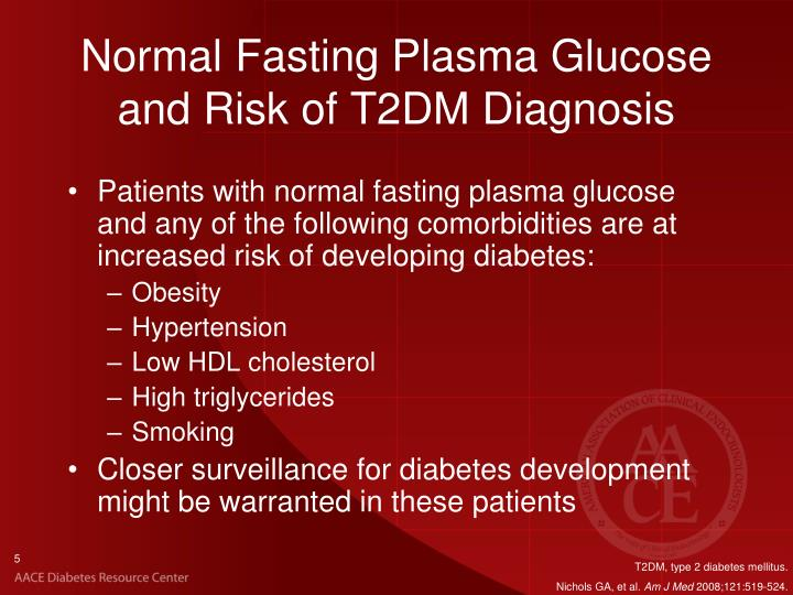 Normal Fasting Plasma Glucose and Risk of T2DM Diagnosis
