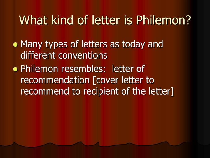 What kind of letter is Philemon?