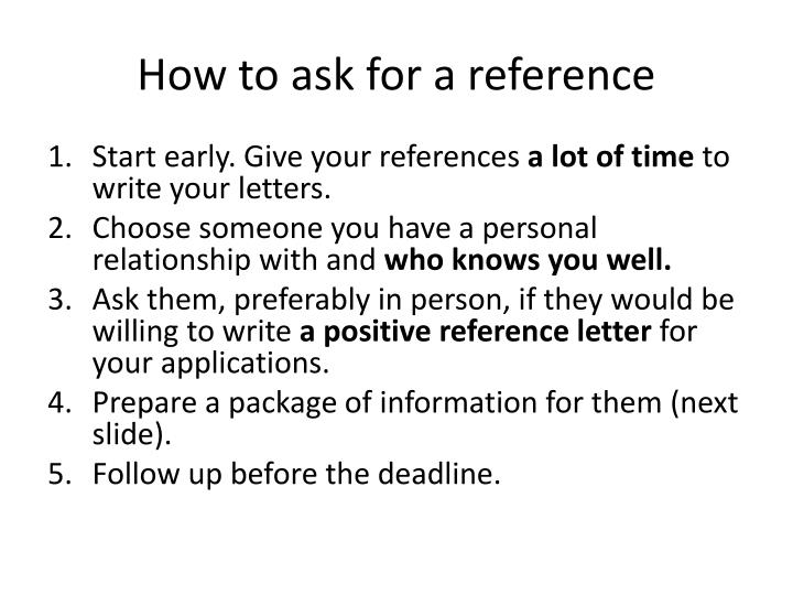 How to ask for a reference