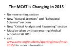 the mcat is changing in 2015