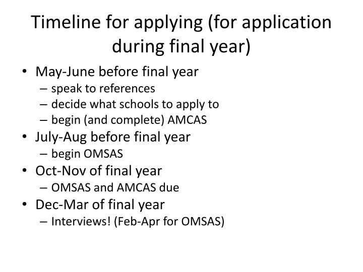 Timeline for applying (for application during final year)